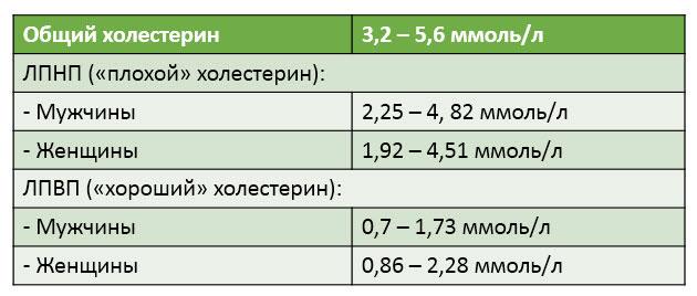 Нормы холестерина